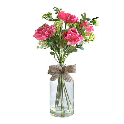 Pink Peony Glass Bottle Arrangement