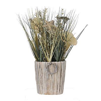 Seashells and Grass Basket Arrangement