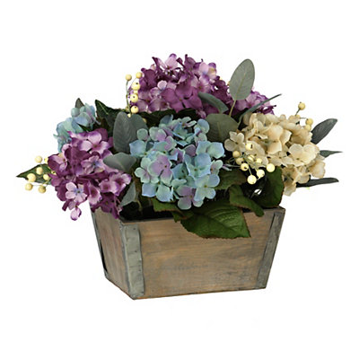 Colorful Hydrangea Wood Pot Arrangement