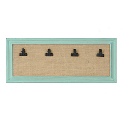 Distressed Turquoise Burlap 4-Clip Collage Frame
