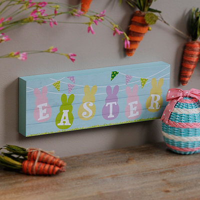 Pastel Easter Bunnies Wood Plank Plaque