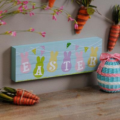 Pastel Easter Bunnies Wood Plank Plaque