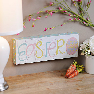 Pastel Easter Egg Wood Plank Plaque