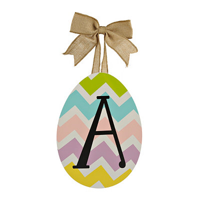Chevron Monogram A Easter Egg Plaque
