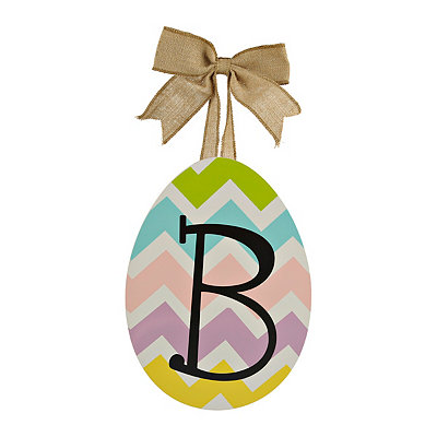 Chevron Monogram B Easter Egg Plaque