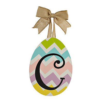 Chevron Monogram C Easter Egg Plaque