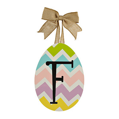 Chevron Monogram F Easter Egg Plaque