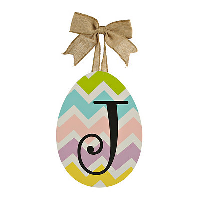 Chevron Monogram J Easter Egg Plaque