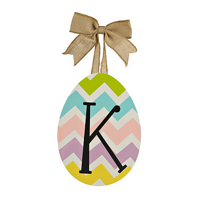 Chevron Monogram K Easter Egg Plaque