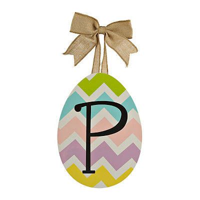Chevron Monogram P Easter Egg Plaque