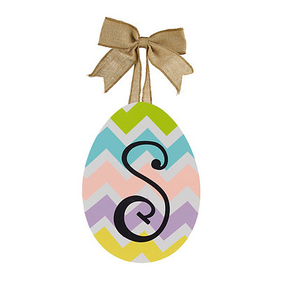 Chevron Monogram S Easter Egg Plaque