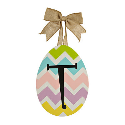 Chevron Monogram T Easter Egg Plaque