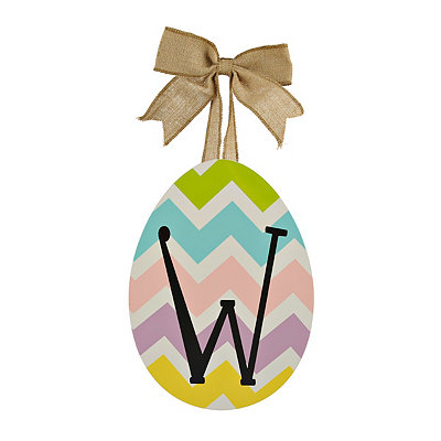 Chevron Monogram W Easter Egg Plaque