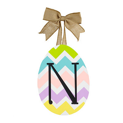 Chevron Monogram N Easter Egg Plaque