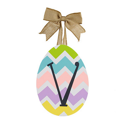Chevron Monogram V Easter Egg Plaque