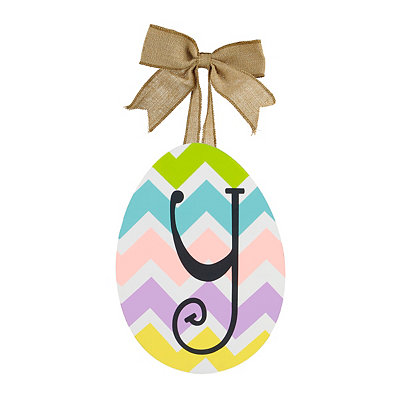 Chevron Monogram Y Easter Egg Plaque