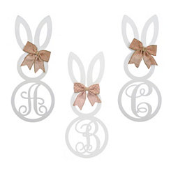 White Monogram Bunny Wooden Plaque