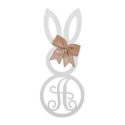 White Monogram A Bunny Wooden Plaque