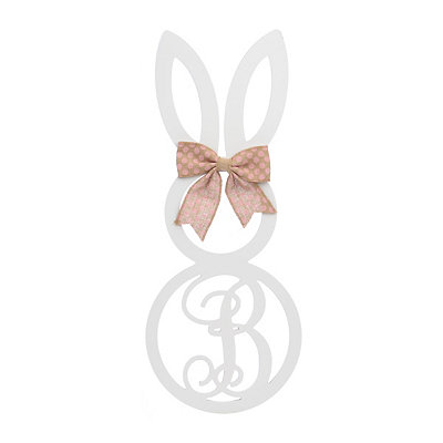 White Monogram B Bunny Wooden Plaque