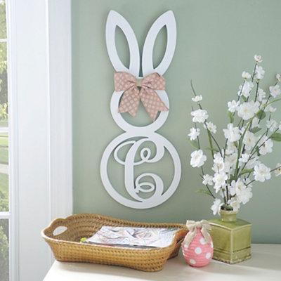 White Monogram C Bunny Wooden Plaque