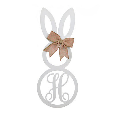 White Monogram H Bunny Wooden Plaque