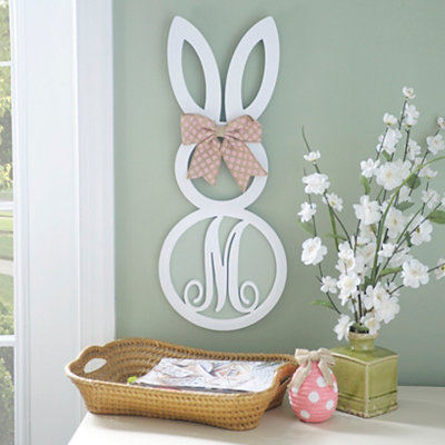 White Monogram M Bunny Wooden Plaque