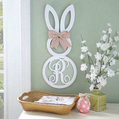 White Monogram R Bunny Wooden Plaque