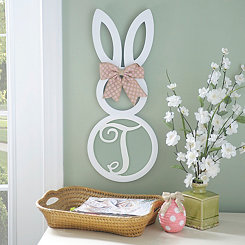 White Monogram T Bunny Wooden Plaque