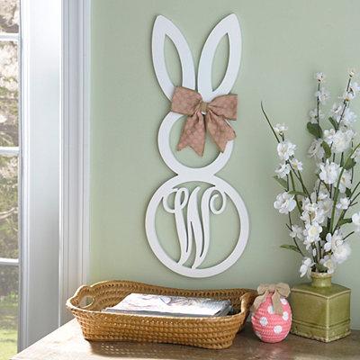 White Monogram W Bunny Wooden Plaque