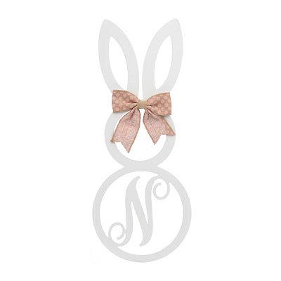 White Monogram N Bunny Wooden Plaque
