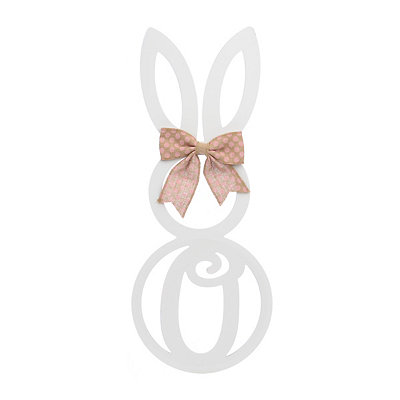 White Monogram O Bunny Wooden Plaque