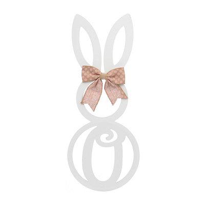 White Monogram O Bunny Wooden Plaque