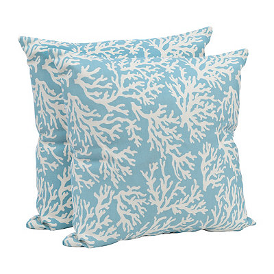 Aqua Coral Outdoor Accent Pillows, Set of 2