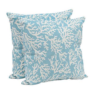 Aqua Coral Outdoor Accent Pillows, Set of 2