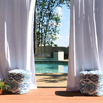 Solid White Outdoor Curtain Panel, 96 in.