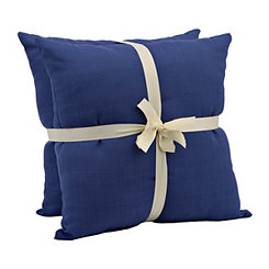 Solid Navy Outdoor Accent Pillows, Set of 2