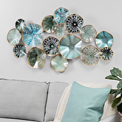 Turquoise & Blue Abstract Medallions Metal Plaque