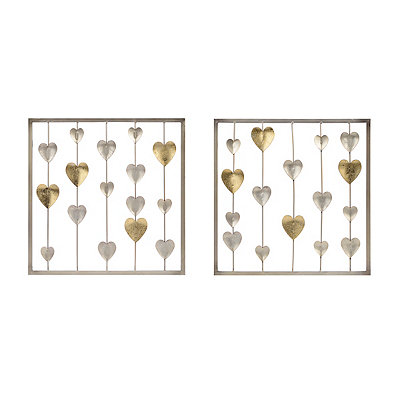Metallic Hearts Panel Metal Plaques, Set of 2
