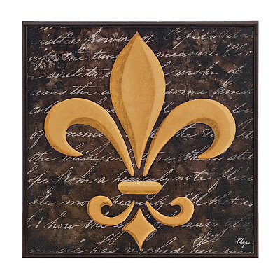 Black and Gold Fleur-de-lis Framed Art Print