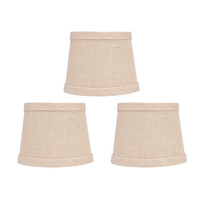 Cream Burlap Chandelier Shades, Set of 3