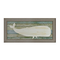 Distressed Wood Plank Whale Framed Art Print