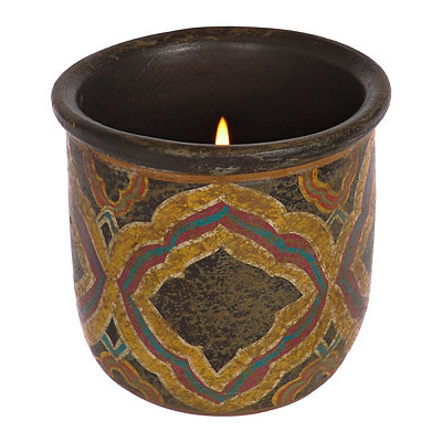 Brown Diamond Terra Cotta Candle Holder