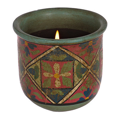Green Flower Terra Cotta Candle Holder