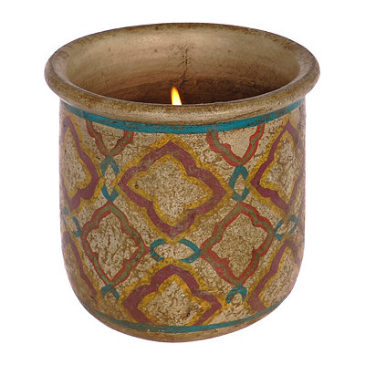 Beige Quatrefoil Terra Cotta Candle Holder