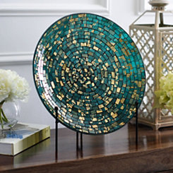 Glacier Blue and Gold Mosaic Decorative Charger