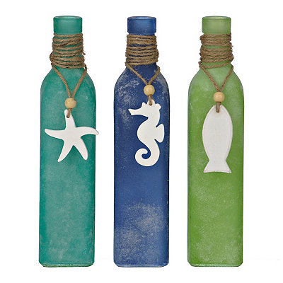 Coastal Charms Glass Vases, Set of 3
