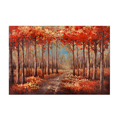 Autumn Forest Trail Canvas Art Print