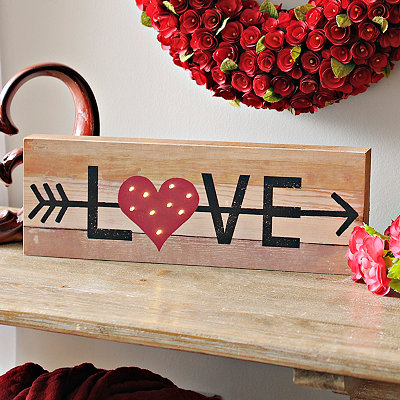 Pre-Lit Wooden Love Sign