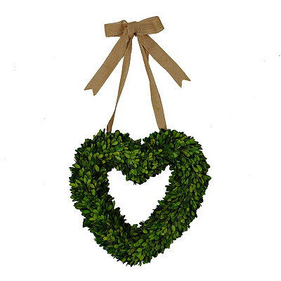 Heart Boxwood Wreath with Burlap Bow