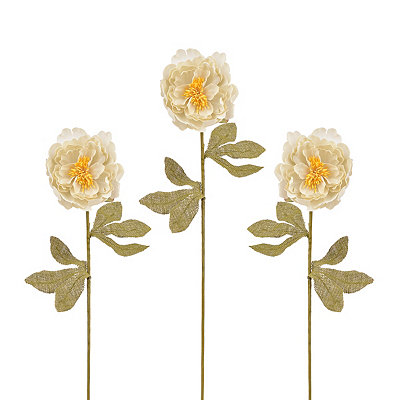 Cream Burlap Peony Stems, Set of 3